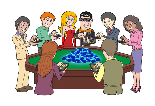 ClickJack playing with others around a casino table